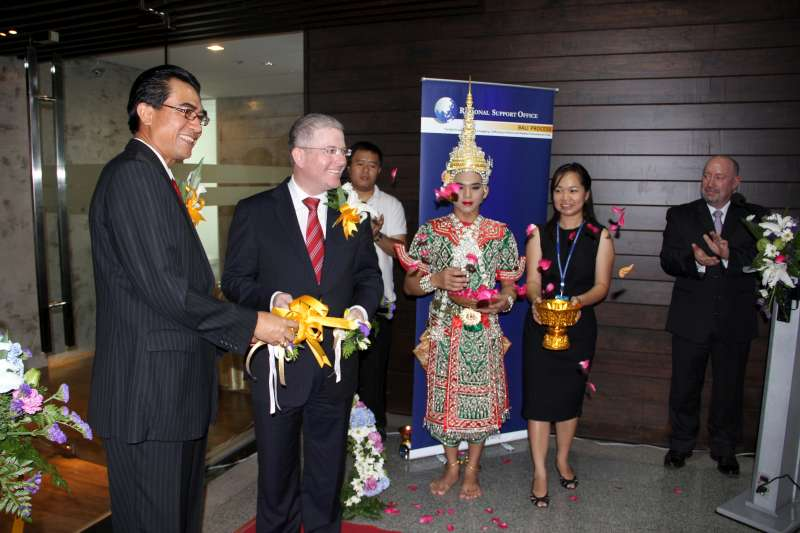 Indonesia's ambassador to Thailand, Lutfi Rauf, and Australia's Ambassador for People Smuggling Issues Craig Chittick, at the launch of the Bali Process's Regional Support Office in Bangkok.